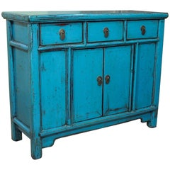 Antique Chinese Turquoise Lacquered Cabinet