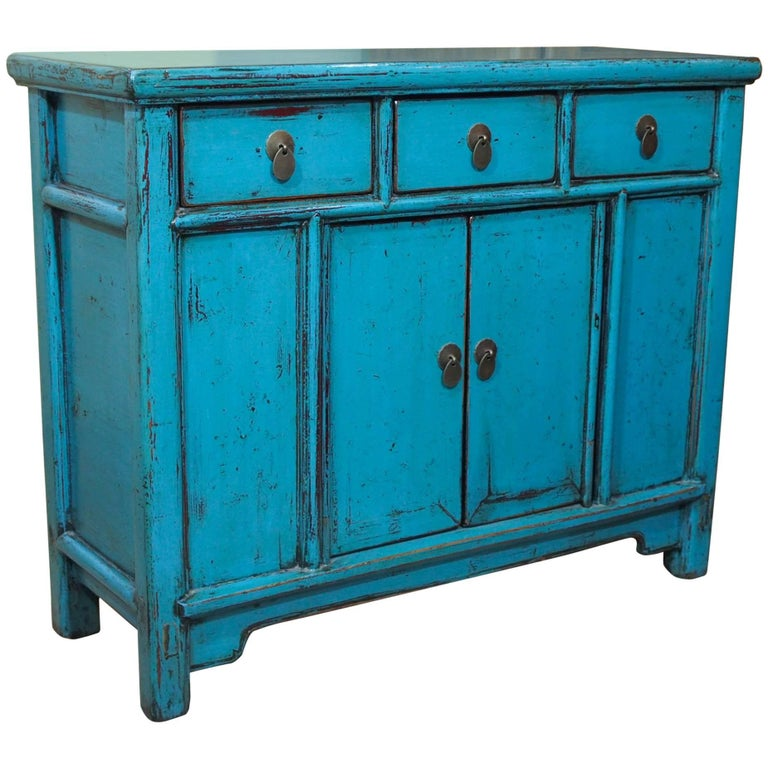 Antique Chinese Turquoise Lacquered Cabinet For Sale