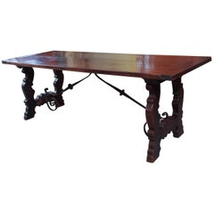 Antique Spanish Mahogany Trestle Table
