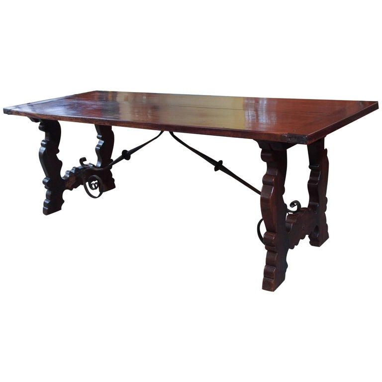 Antique Spanish Mahogany Trestle Table For Sale