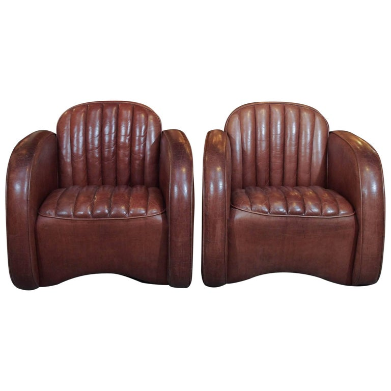 """Pair of English Leather """"Car Seat"""" Club Chairs For Sale"""