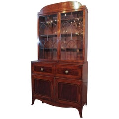 18th Century Georgian Mahogany and Satinwood Secretaire
