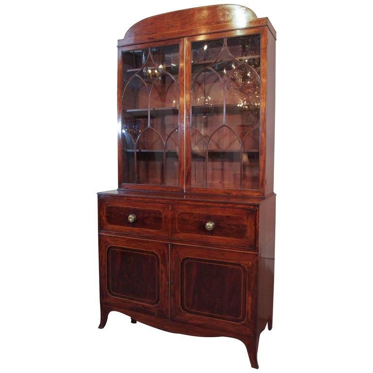 18th Century Georgian Mahogany and Satinwood Secretaire For Sale