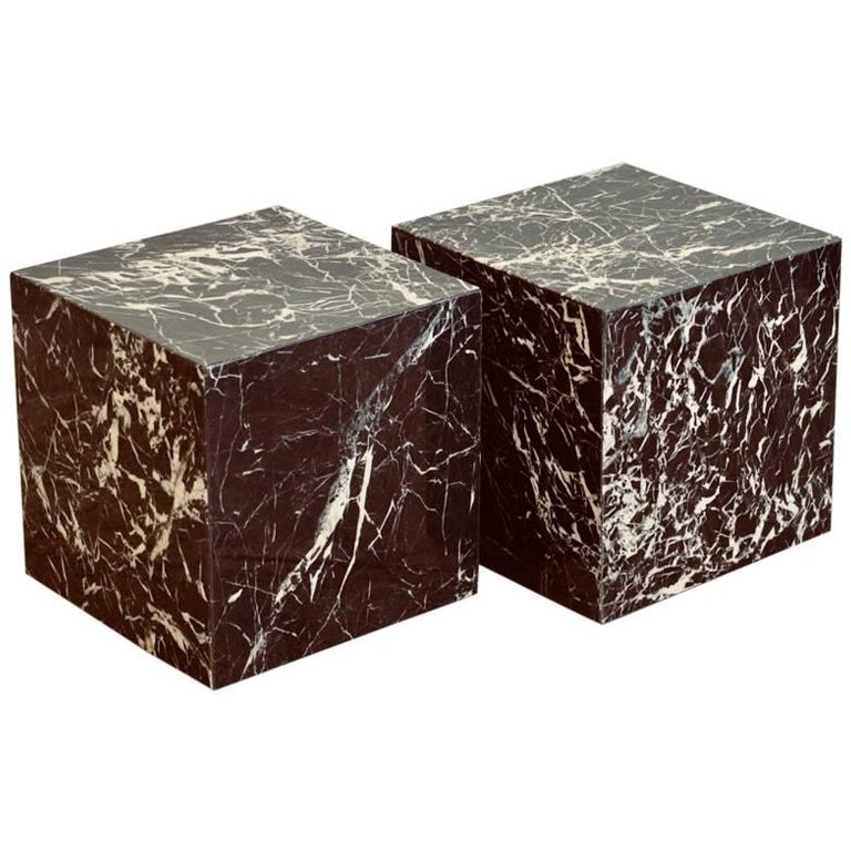 Pair of Veined Marble Block Side Tables or Coffee Table