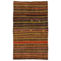 Vintage Turkish Striped Kilim Rug with Modern Cabin Tribal Style, Flat-Weave Rug