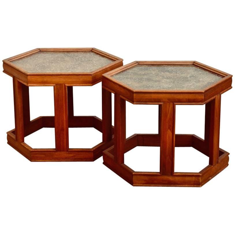 Pair of John Keal for Brown Saltman Hexagonal Side Tables