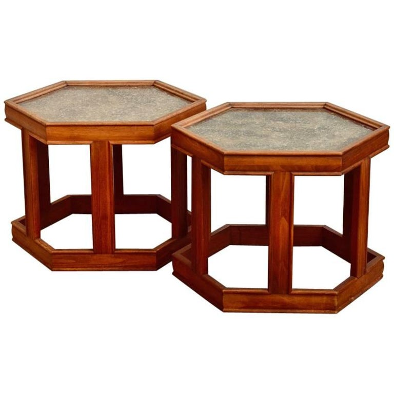 Pair of John Keal for Brown Saltman Hexagonal Side Tables
