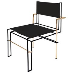 Casbah Chair Contemporary Functionalist in Black Brass and Vachetta Tubular