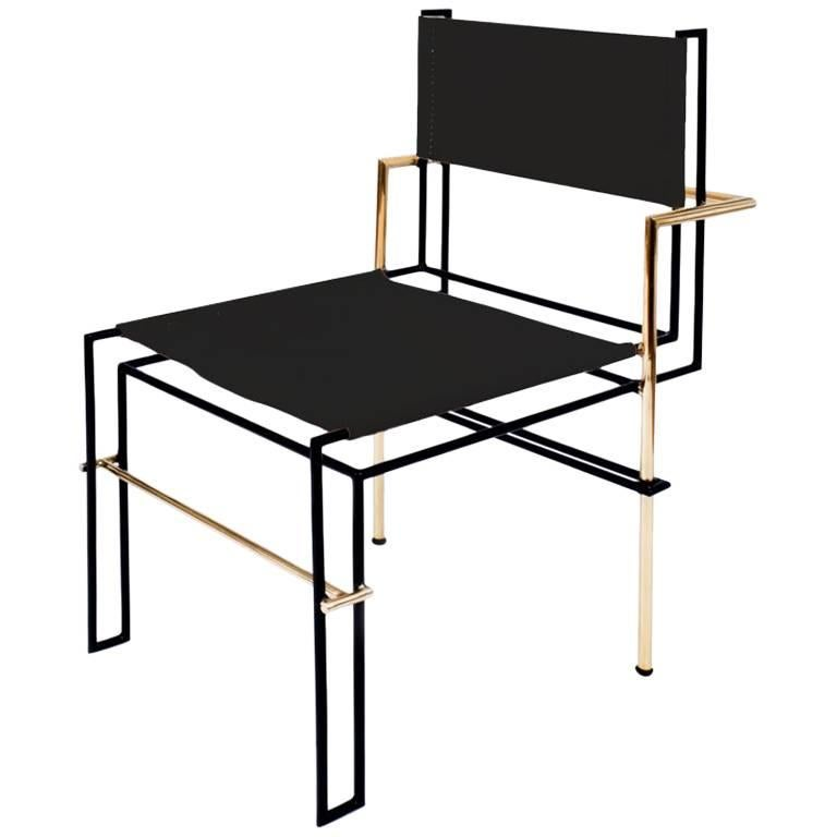 Casbah Chair Contemporary Functionalist in Black Brass and Vachetta Tubular For Sale