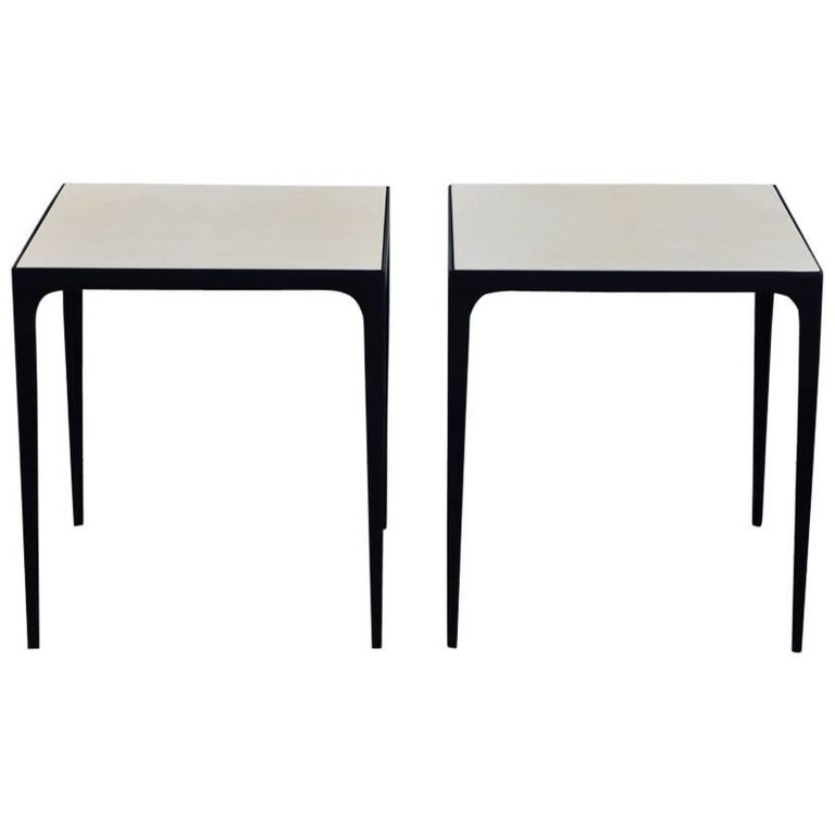 Pair of 'Esquisse' Parchment and Wrought Iron Side Tables by Design Frères
