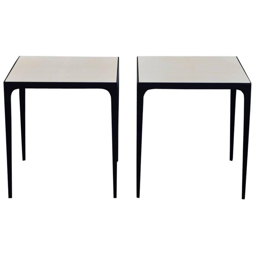 Pair Of U0027Esquisseu0027 Parchment And Wrought Iron Side Tables By Design Frères