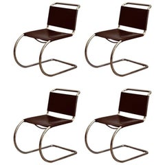 Set of Four Classic Thick Leather and Chrome MR Chairs by Mies van der Rohe