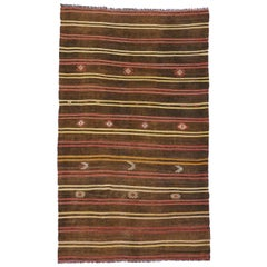 Vintage Turkish Kilim Rug with Tribal Style, Boho Chic Flat-Weave Kilim Rug