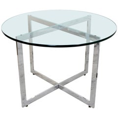 Mid-Century Modern Rosen Pace Chrome Base Glass Top Dining Dinette Table