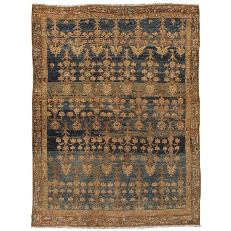 Antique Slightly Distressed Persian Malayer Rug