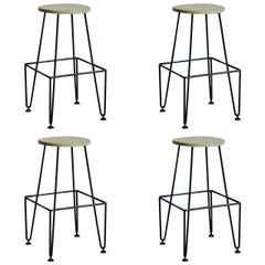 Set of Four Industrial Counter-Height Bar Stools