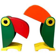 1968, Green Red Beek, Rare Charming Toucan Table Lamp for OTF, Italy, Ferrari