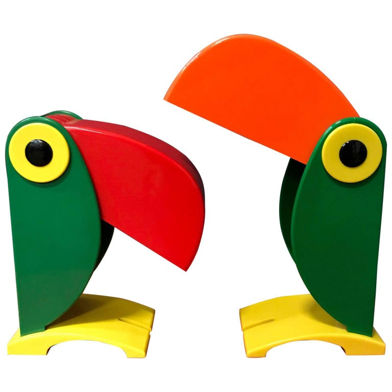 1968, Two Green, Very Rare Charming Toucan Table Lamp for OTF, Italy, Ferrari