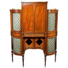 Exhibition Quality 19th Century Ormolu-Mounted Amboyna Shaped Cabinet