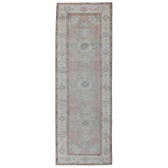 Pale Pink, Light Blue and Ivory Vintage Turkish Oushak Runner