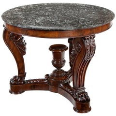 French 19th Century Marble-Topped Louis Philippe Mahogany Centre Table