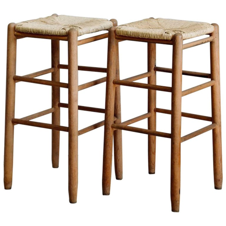 Pair of Rush Bar Stools in the Style of Charlotte Perriand