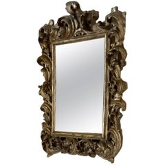 18th Century Pewter-Toned Baroque Style Hall Mirror