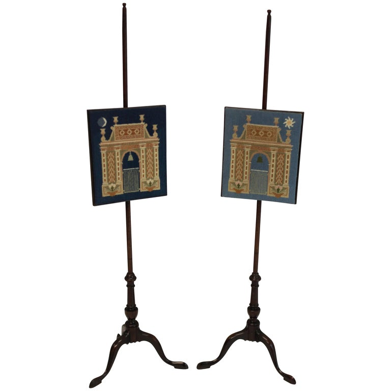 Pair of English Pole Screens Depicting Night and Day