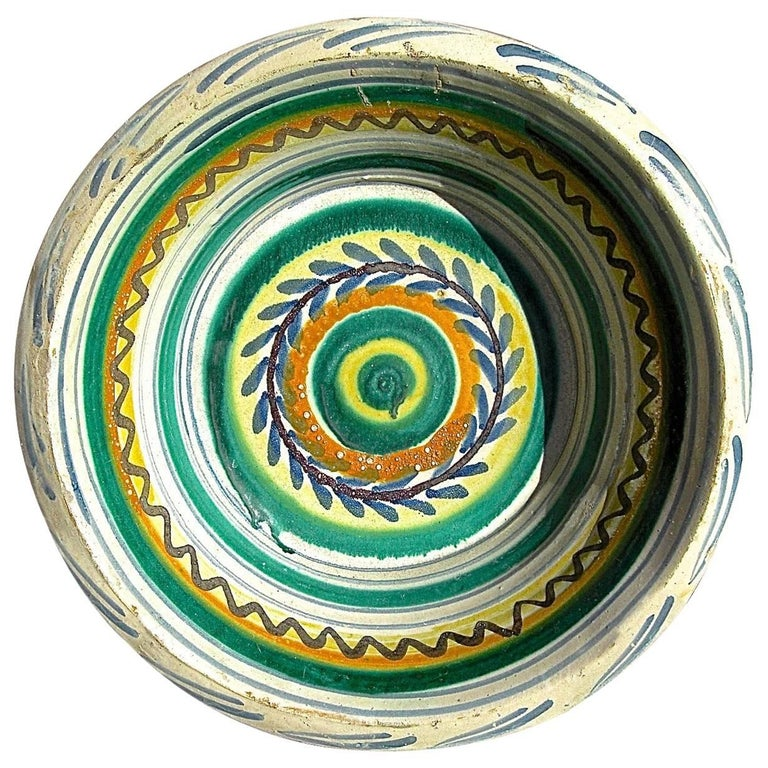 19th Century Painted and Glazed Majolica Wash Basin from Triana, Spain