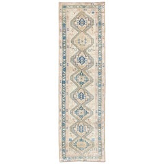 Stacked Medallion Antique Turkish Oushak Rug in Teal, Ivory, Cream and Nude