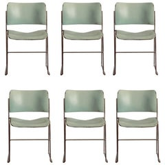 Set of Six Teal and Chrome David Rowland 40/4 Stacking Chairs