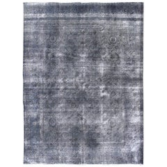 Large Vintage Persian Overdyed Tabriz Rug in Shades of Gray