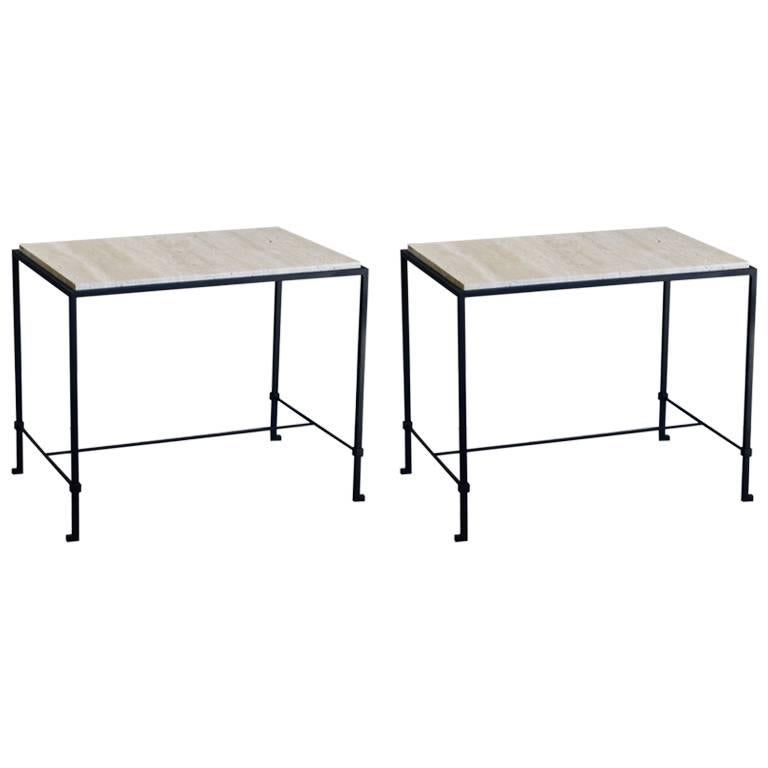 Pair of 'Diagramme' Wrought Iron and Travertine Side Tables by Design Frères For Sale