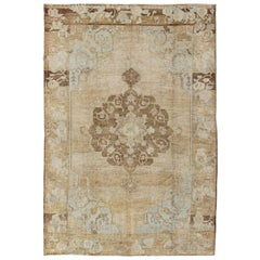 Vintage Turkish Kars Rug with Floral Medallion in Camel, Tan, Taupe and Gray