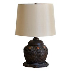 Heavy Tiffany Snake Basket Patinated Bronze Lamp with Custom Silk Shade
