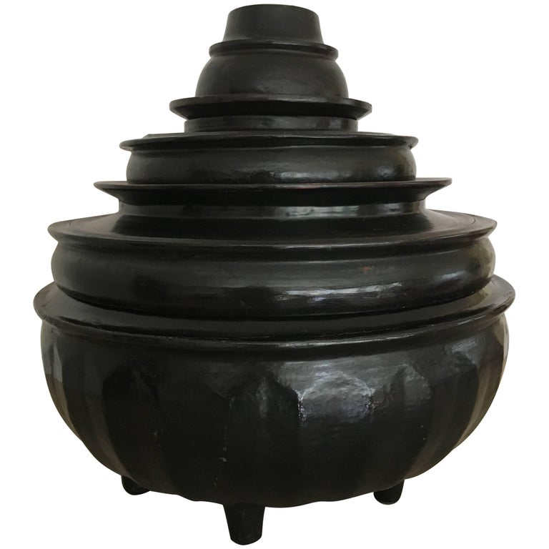 Burmese Black Lacquered Offering Bowl