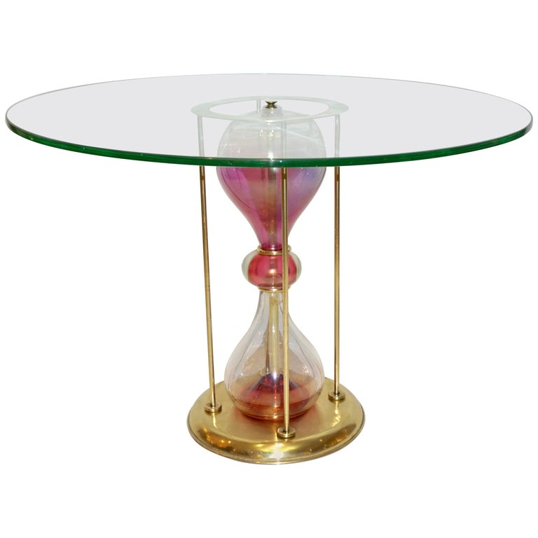 Seguso Vetri d'Arte, 1960s Italian Brass and Pink Glass Round Side/End Table For Sale