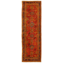 Colorful Antique Turkish Oushak Wide Runner with Geometric Tribal Motifs