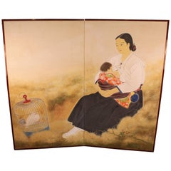 Shibata Suika Japanese Painted Paper Screen with Okinawan Mother and Child