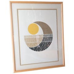 "Signed Robert Waterman ""Moon Fields"" 4/100 Art. College and Litho Abstract"
