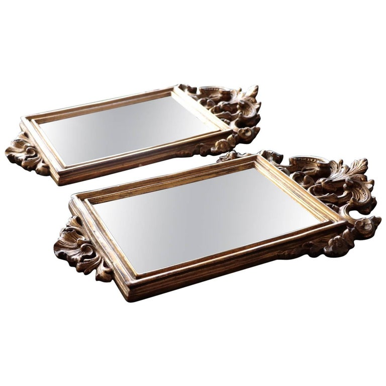 Pair of Antique Italian Borghese Hand-Carved Gilt Petite Wall Mirrors