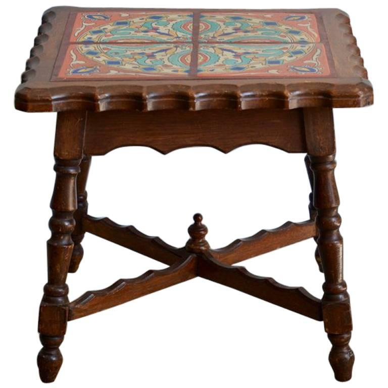 Intact Catalina Tile and Oak Side Table