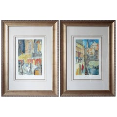 Signed Pair of Charles R Davies Colorful Scenes Art Window Looks and Inkempen