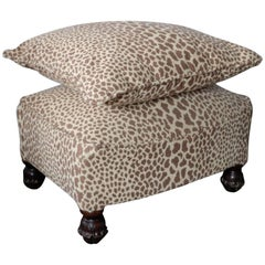Hot to Trot 1950s Mid Mod Cheetah Ottoman with Matching Pillow, Antique Piece