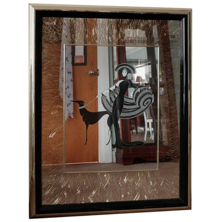 Large Erte Design Mirror Titled Symphony in Black Art Deco Gold and Black Detail