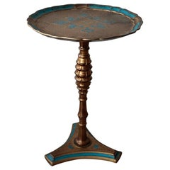Neoclassical Style Tray Table, Beautifully Teal Blue and Giltwood Tray Top