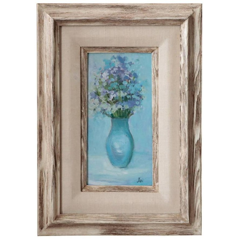 ON SALE NOW! Signed JAN Oil on Canvas Blue on Blue Whitewashed Wood Frame