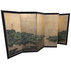 Japanese Antique Six-Panel Folding Screen Hamatsu, Clouds and Pines Meiji Period