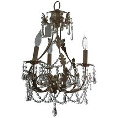 French Flare Distressed White Toile Chandelier