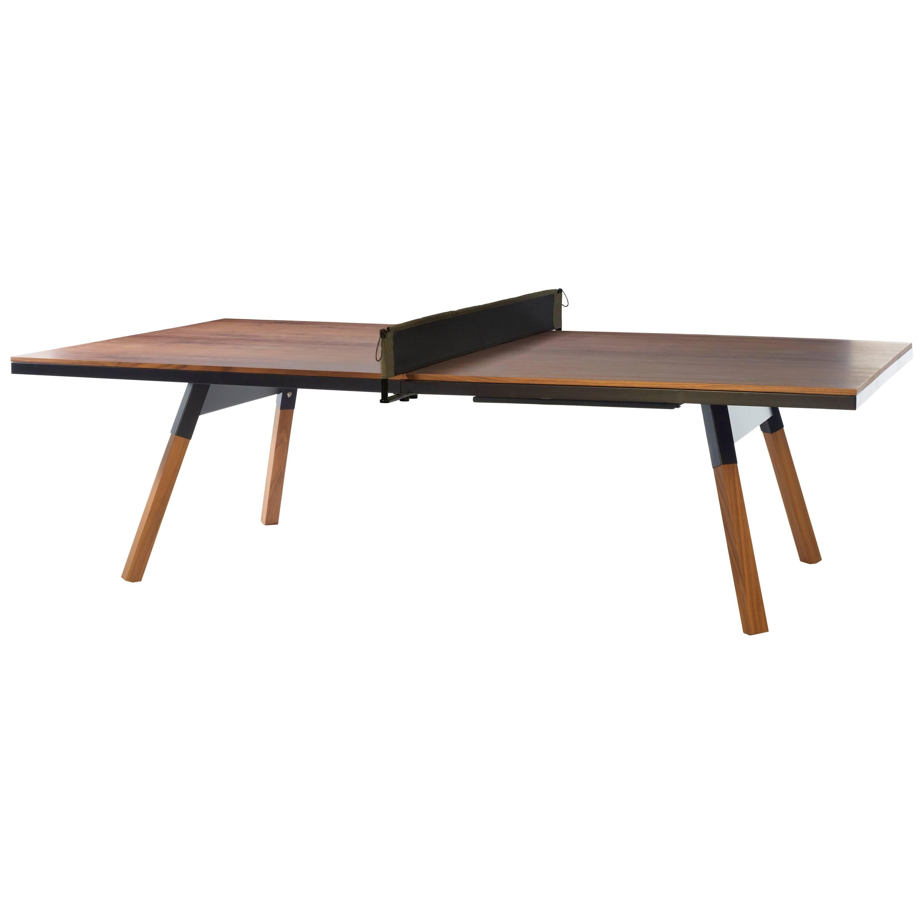 You & Me Wooden Top Standard Ping Pong Table in Walnut and Black by RS Barcelona